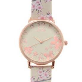 可愛い桜のデザインベルトにカットガラスがおしゃれ ピンクゴールドケース腕時計 SPST034-BEI (BEI)