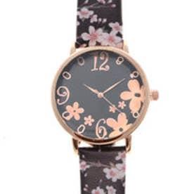 可愛い桜のデザインベルトにカットガラスがおしゃれ ピンクゴールドケース腕時計 SPST034-BLK (BLK)