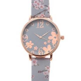 可愛い桜のデザインベルトにカットガラスがおしゃれ ピンクゴールドケース腕時計 SPST034-GRY (GRY)
