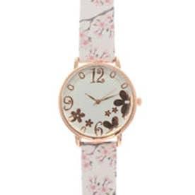 可愛い桜のデザインベルトにカットガラスがおしゃれ ピンクゴールドケース腕時計 SPST034-WHT (WHT)