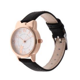 レディース腕時計 キュートな猫耳つきピンクゴールドケースのデザインウォッチ 文字盤ねこ SPST040-BLK (BLK)