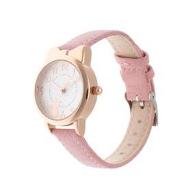 レディース腕時計 キュートな猫耳つきピンクゴールドケースのデザインウォッチ 文字盤ねこ SPST040-PNK (PNK)