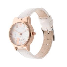 レディース腕時計 キュートな猫耳つきピンクゴールドケースのデザインウォッチ 文字盤ねこ SPST040-WHT (WHT)