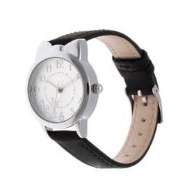 レディース腕時計 キュートな猫耳つきシルバーケースのデザインウォッチ 文字盤ねこ SPST041-BLK (BLK)