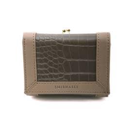 財布 レディース がま口 ブランド クロコ型押し リサイクルフェイクレザー (グレージュ)