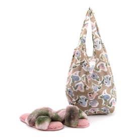 ルームシューズ レディース 冬用 A4 洗える エコバッグ エコファー フラワープリント かわいい おしゃれ (ピンク)