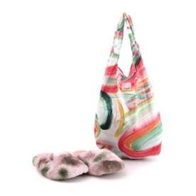 ルームシューズ レディース 冬用 A4 洗える エコバッグ エコファー キャンディーカラー かわいい おしゃれ (ピンク)