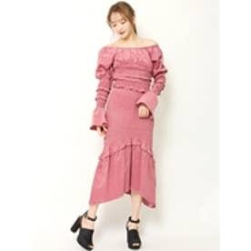 シャーリングマーメイドスカート ピンク