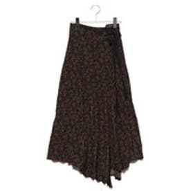 ランダムプリーツプリントスカート (ブラックxオレンジ)