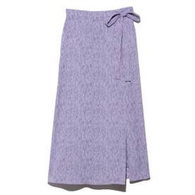 プリントラップスカート (ブルー)