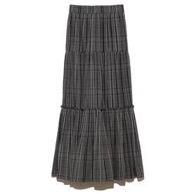 ギャザーティアードIラインスカート (チャコールグレー)