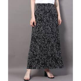 バリエーションプリントサテンスカート (ブラック)