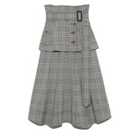 フレアミドルトレンチスカート (CHECK)