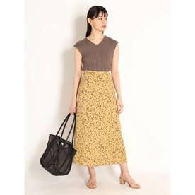 バリエーションプリントサテンスカート (YEL)