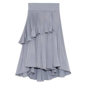 プリーツフレアミニスカート (BLU)