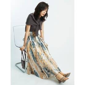 リボンジャガードプリントスカート (BEG)