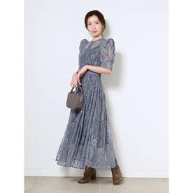 フラワー刺繍チュールドレス (BLU)