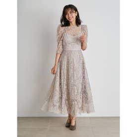 パワーショルダーレースドレス (BEG)