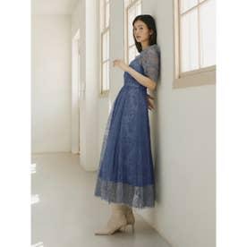 パワーショルダーレースドレス (BLU)