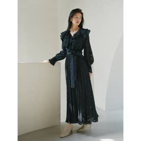 ボリュームフリルジャガードドレス (NVY)