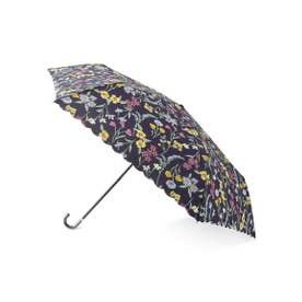 ボタニカルフラワー折り畳み傘 (ネイビー)