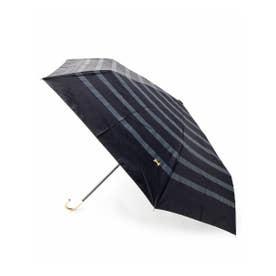 晴雨兼用ボーダー折り畳み傘 (ブラック)