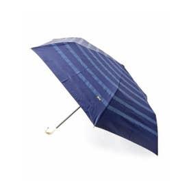 晴雨兼用ボーダー折り畳み傘 (ネイビー)