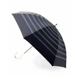 晴雨兼用ボーダー長傘 (ブラック)
