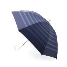晴雨兼用ボーダー長傘 (ネイビー)