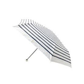 晴雨兼用ボーダーリボン折り畳み傘 (アイボリー)