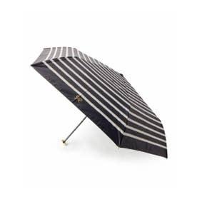 晴雨兼用ボーダーリボン折り畳み傘 (ブラック)