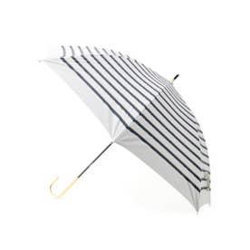 晴雨兼用ボーダーリボン長傘 (アイボリー)