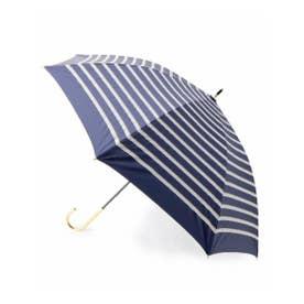 晴雨兼用ボーダーリボン長傘 (ネイビー)
