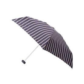 トート型収納袋ストライプミニ傘 (ネイビー)