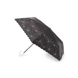 because フラワー刺しゅう晴雨兼用折り畳み傘 (ブラック)