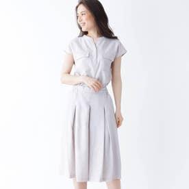 【大きいサイズあり・13号・15号】INNOWAVE スキッパーシャツ+キュロットパンツセット (ライトグレー)