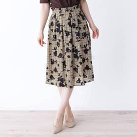 【大きいサイズあり・13号・15号】格子×シャドー花柄スカート (ライトベージュ)