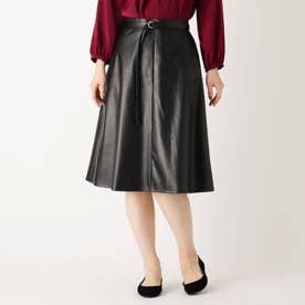 【大きいサイズあり・13号】ベルテッドミモレフェイクレザースカート (ブラック)