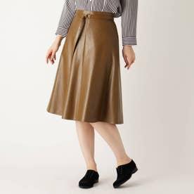 【大きいサイズあり・13号】ベルテッドミモレフェイクレザースカート (ダークブラウン)