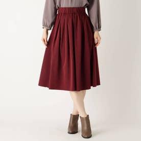 【大きいサイズあり・13号】リバーシブルタフタギャザースカート (ボルドー)