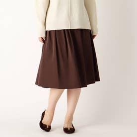 【大きいサイズあり・13号】リバーシブルタフタギャザースカート (ブラウン)