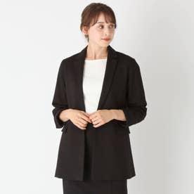 【大きいサイズあり・15号】ポンチジャージジャケット (ブラック)