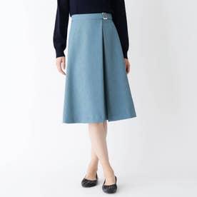 【大きいサイズあり・15号~17号】タックフレアバックルスカート (ブルー)