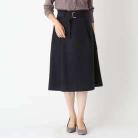 【大きいサイズあり・13号】innowave マイクロコーデュロイハイウエストスカート (ネイビー)