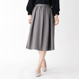 【大きいサイズあり・13号】タックギャザーウールスカート (グレー)