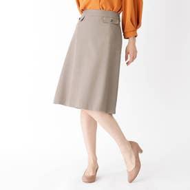 【大きいサイズあり・13号】ボタンフラップスカート (サンドベージュ)