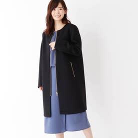 【大きいサイズあり・13号】ボンディングノーカラーコート (ブラック)