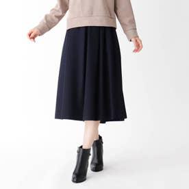 【大きいサイズあり・15号~21号】タックウールギャザースカート (ネイビー)
