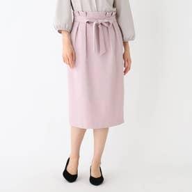 【大きいサイズあり・13号】ウエストタックタイトスカート (ベビーピンク)