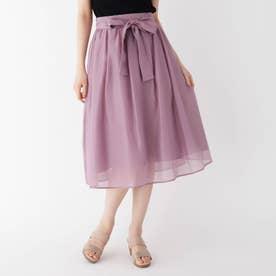 【大きいサイズあり・13号・15号】リボンオーガンジーフレアスカート (ピンク)